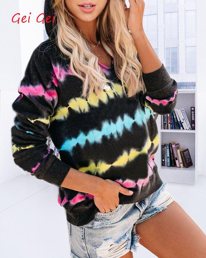 Tie Dye Печать с длинным рукавом рубашки женщин V-образным вырезом Сыпучие вскользь с капюшоном футболки 2020 Весна Осень Женщины Hoodeds Рубашка Плюс Размер Топы Q1118