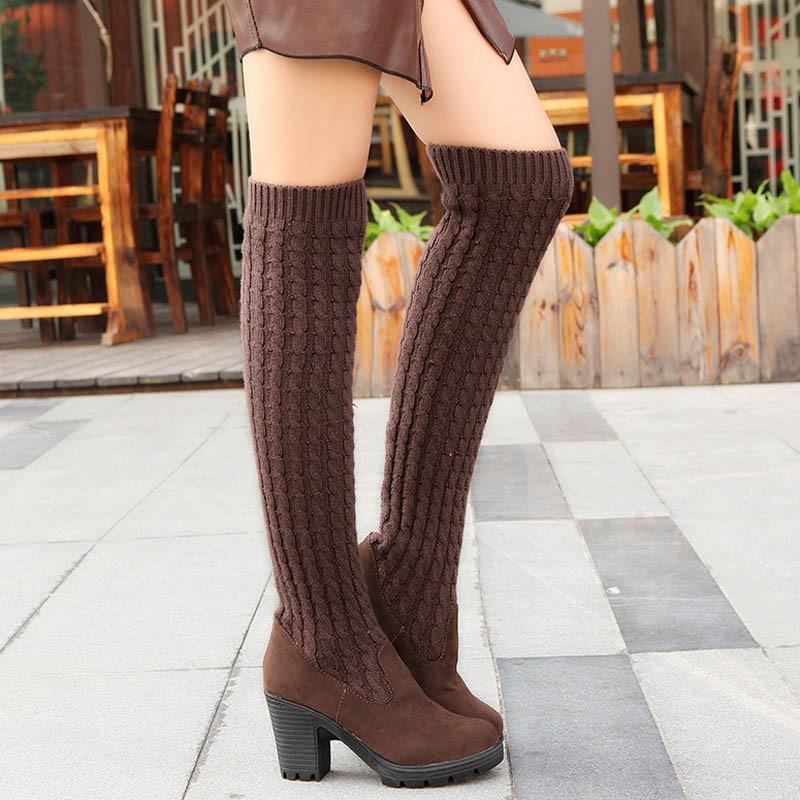 패션 여성 부츠 무릎 높은 탄성 슬림 가을 겨울 따뜻한 긴 허벅지 높은 니트 부츠 여자 신발