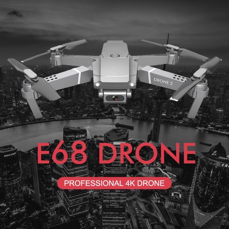 E68 Drone 4 K Profesyonel Çok Pil Daha Uzun Pil Ömürlü Rakım Holding Jest Fotoğraf / Video RC Katlanabilir Quadcopter 2020 Oyuncak