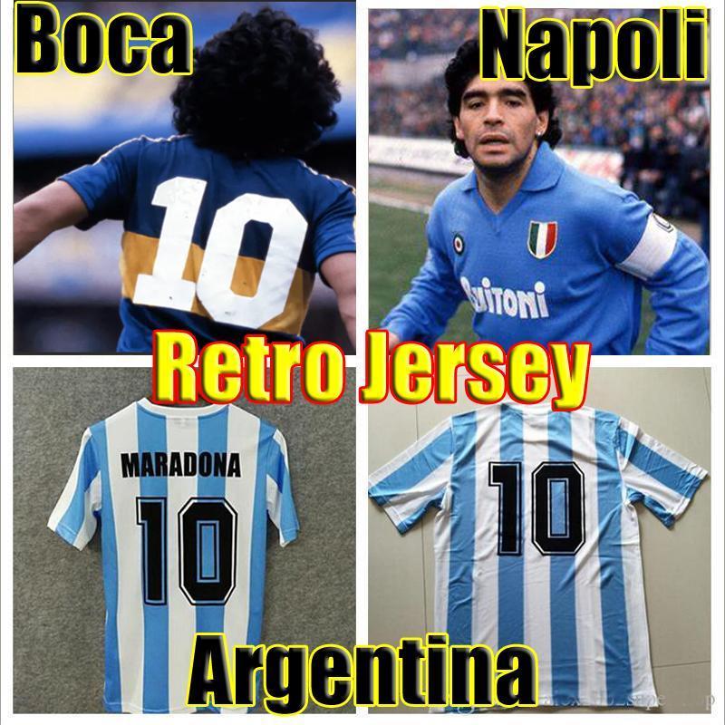 Retro 1986 Argentina Diego Maradona Soccer Jersey 1978 Boca juniors 1981 Vintage NAPOLI 1987 1988 football soccer shirt Kit Classic tops