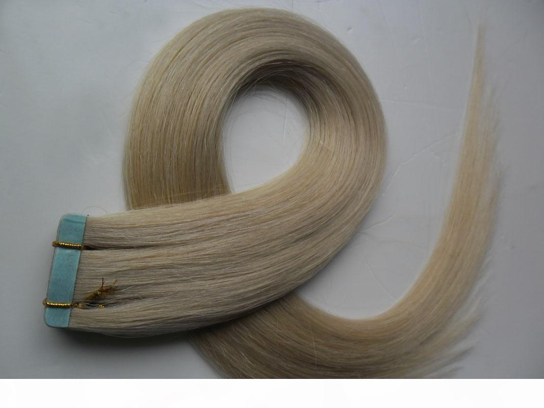 İnsan saç uzantılarında bant 40 adet çift taraflı bant saç 100g düz remy üzerinde yapıştırıcı görünmez pu atkı uzatma 14 renkler seçin