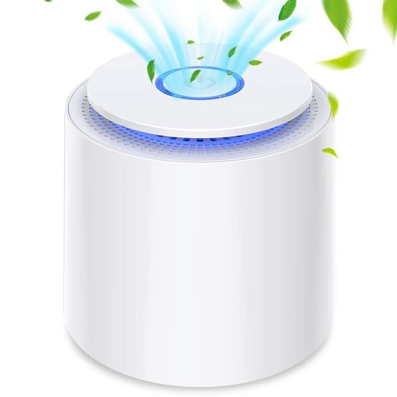 Portable Air Purifier with True HEPA Filter, USB Powered Desktop Air Cleaner with Night Light