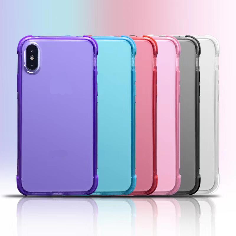 Capas de telefone TPU à prova de choque Cobertura de telefone colorido colorido Capa de telefone transparente TPU Capa para iPhone 7 8PLUS XR X Max 11 Pro