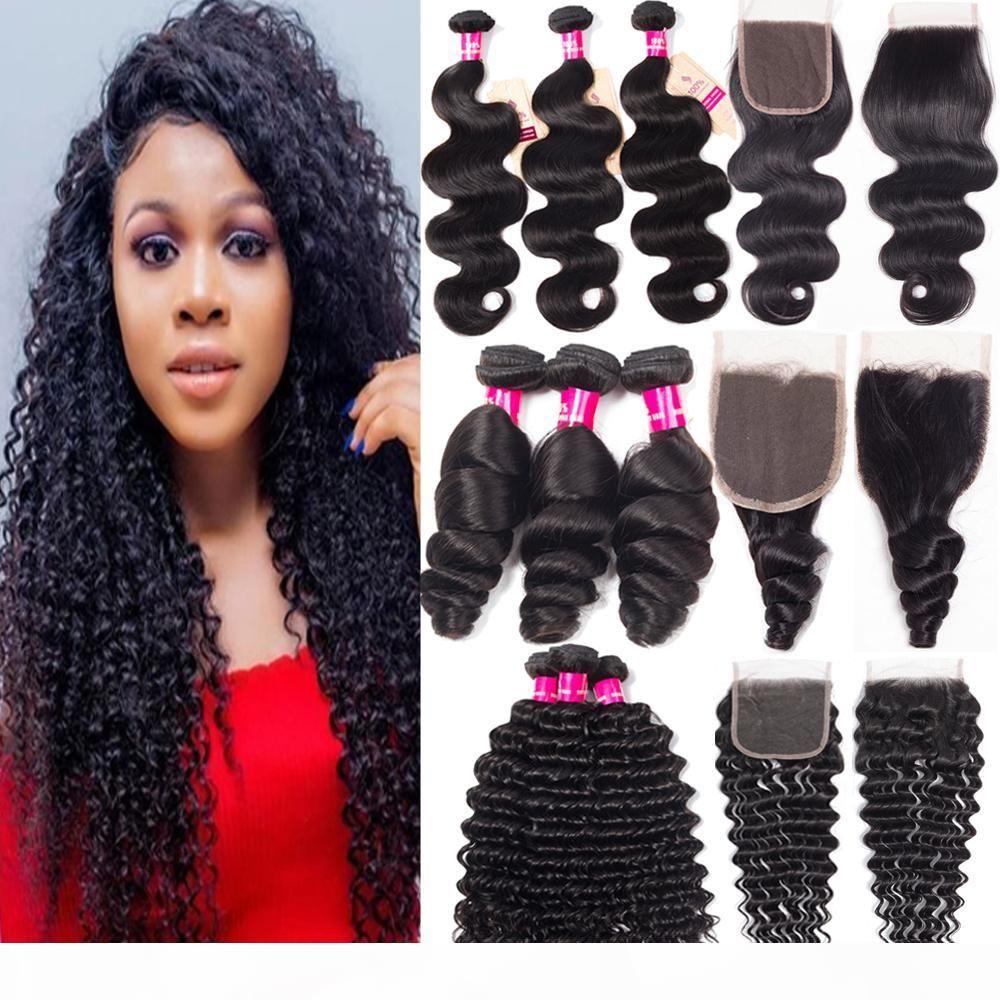 9A feixes de cabelo virgem brasileira com fechamento 4x4 fecho de renda 100% onda corporal não transformada onda profunda Pacotes de cabelo humano reto com fechamento