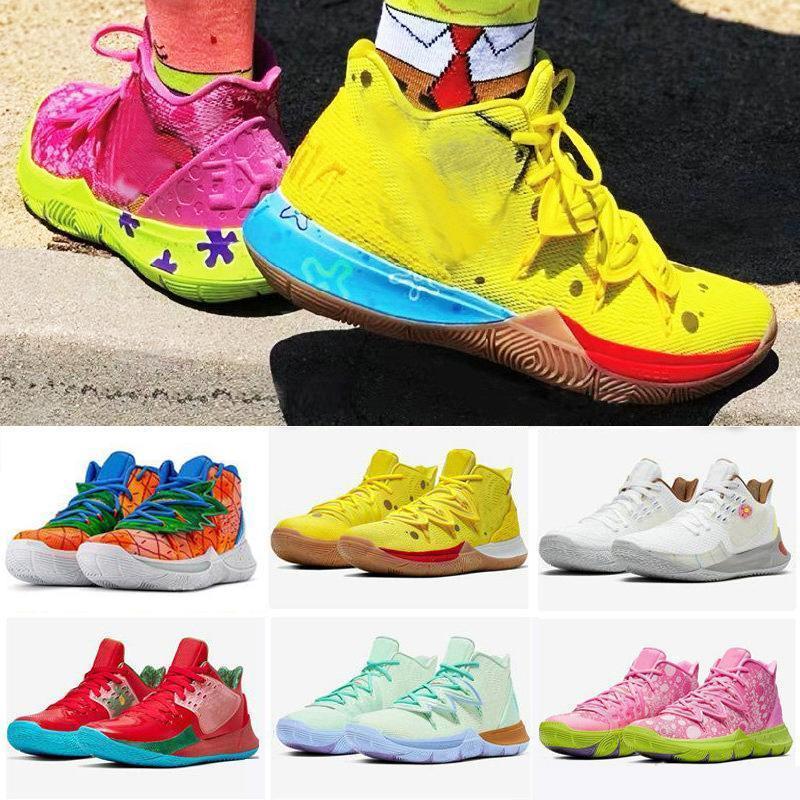 Top Quality Men Kyrie 5 Sapatos Desenhos Animados Esportes Sneakers Amarelo Rosa Meninos Irving Low 2 Top Venda Bob Eponge 88