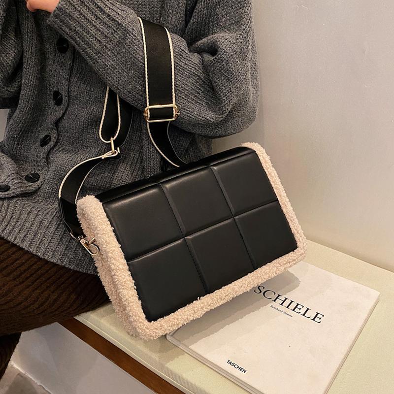 Bolsa 2020 Lattice Crossbody Bags Messenger Mulheres Qualidade de Lã PU Inverno Contraste New Strap Wide para Bag Saco Umffg