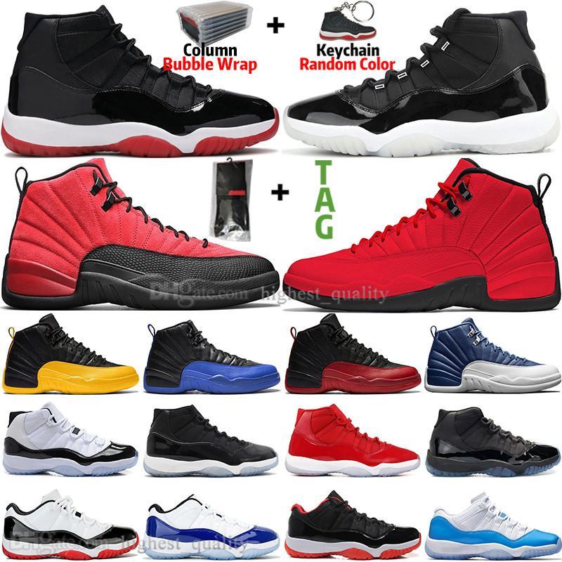 Novos 11 11s 25º Aniversário Criado Concord 45 Space Jam Mens Sapatos de Basquete 12 12s Indigo Jogo Royal Reverse Homens Mulheres Sneakers Trainers