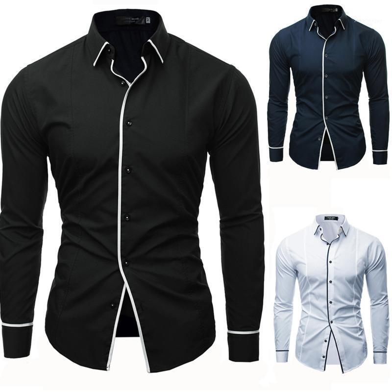 Мужские платья рубашки Uyuk2021 Spring и осень мужская сплошная цветная линия открытая декоративная рубашка с длинным рукавом Trend отворотный досуг Homme1