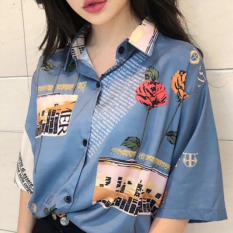 Z 2020 Summer Women tops and blouses Retro Chiffon Rose Print Slim Short Sleeve Lapel Single Buckle Blusas Mujer De Moda 2020