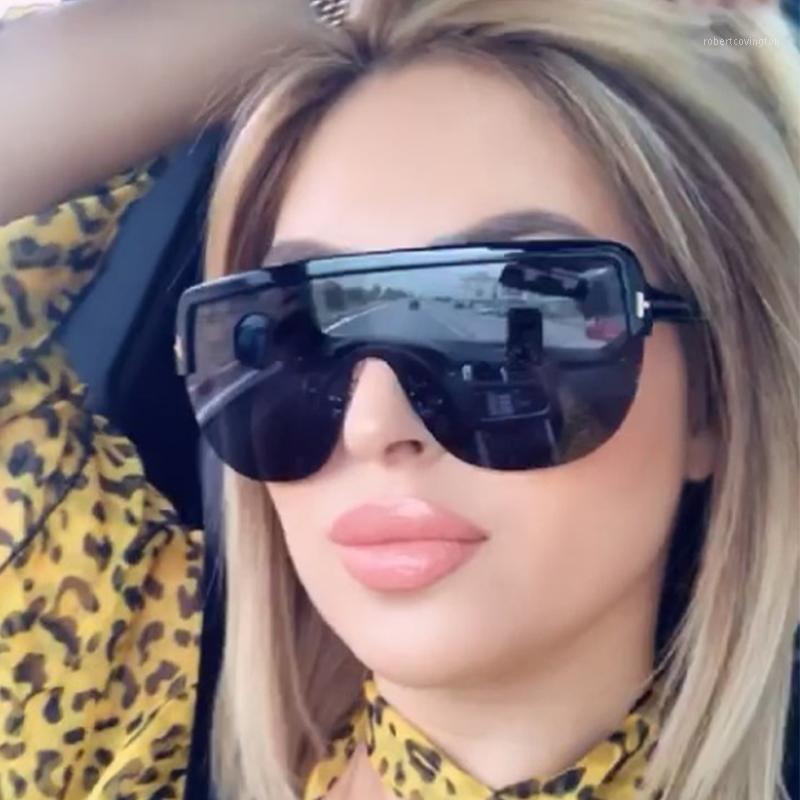 Übergroße Pilot-Sonnenbrille für Frauen-Mode-Halbfeld-Schatten-Gläser für Männer trendige neue Sonnenbrille-Frau1