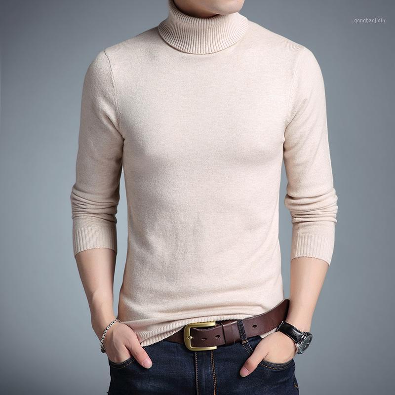 2020 New Turtleneck Sweaters Homens Outono Inverno Moda Sólida Manga Longa Coreano Pullover Camisola Homens Slim Casual Sweater1