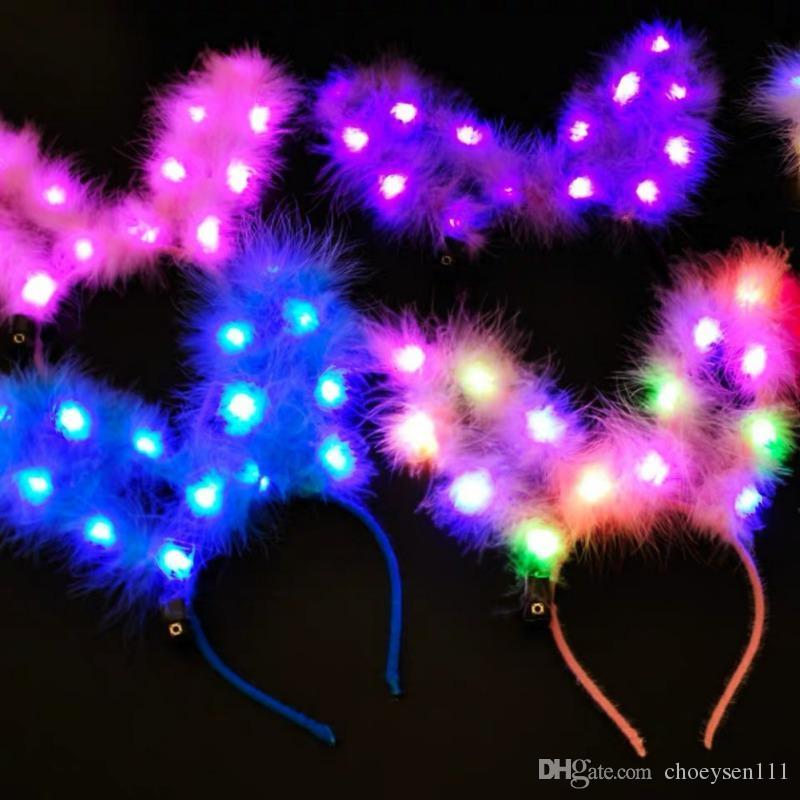 LED acende a ladge lady Light-up coelho coelho orelhas de coelho faixa de cabelo brilhante para o presente de headwear de festa de férias # 2