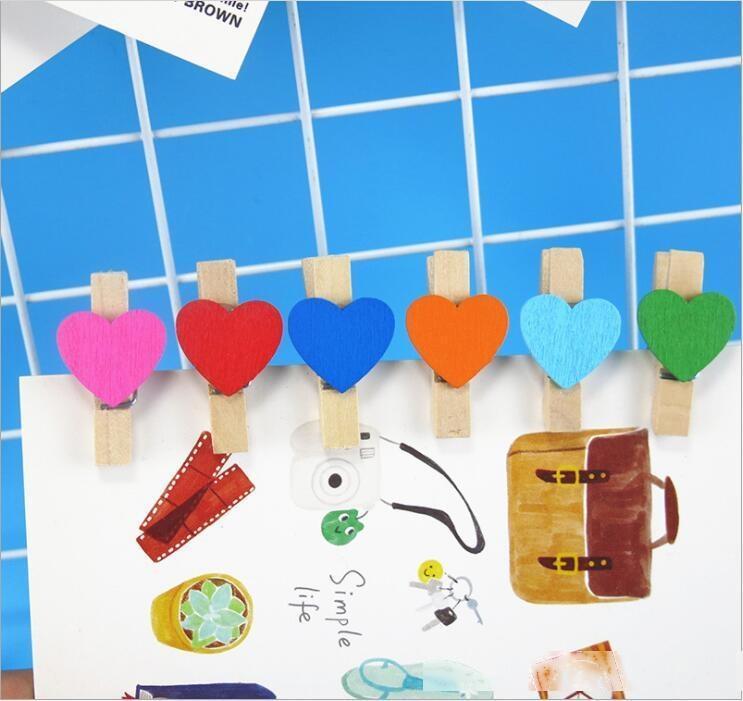 3.5cm Couleur Clip Wooden Creative Enfant Bricolage Manuel Photo Mur d'amour Décoration Clip Star Flower Clip en bois A2034