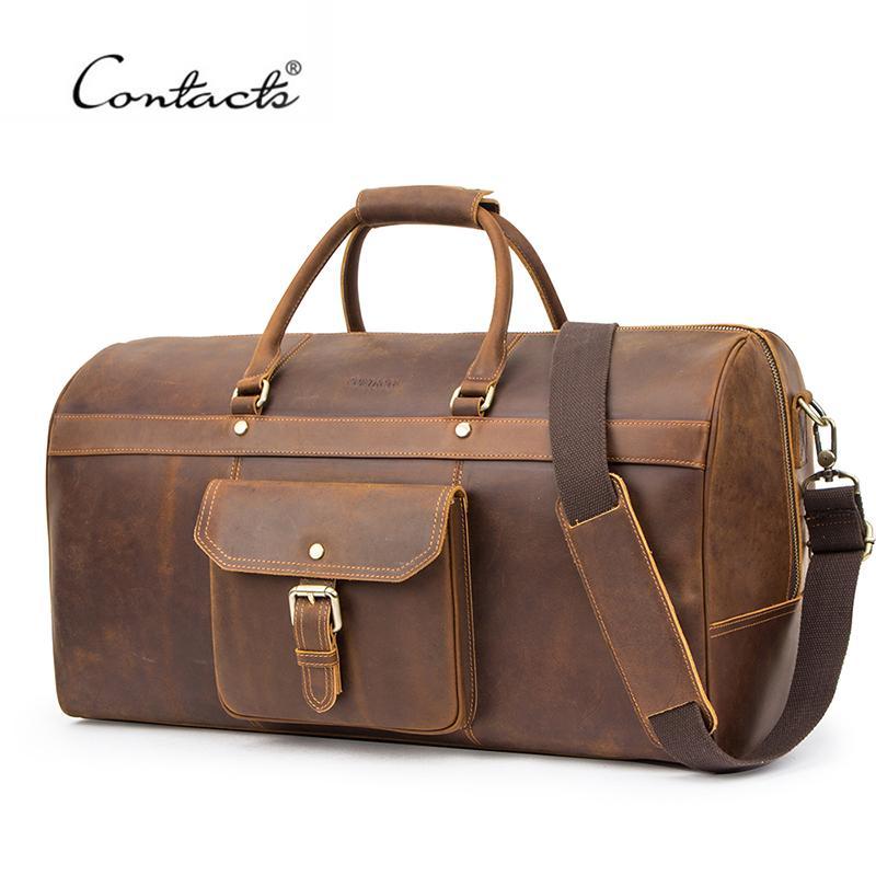 Kontakt Multifunktions Große Kapazität Männer Reisetasche Crazy Horse Leder Duffle Bags Vintage Schulter Handtaschen Tote Gepäcktasche