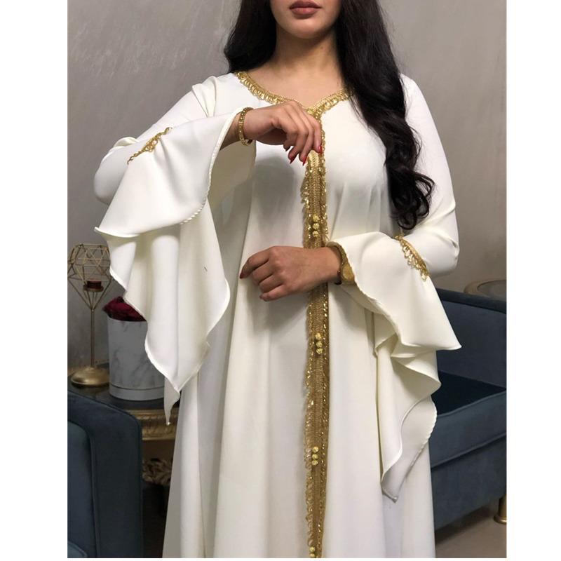 Jalabiya Kaftan Arapça Elbise Kadınlar Için Dubai Türkiye Abaya Nakış Gevşek Djellaba Müslüman Moda İslam Giyim Beyaz Q0111