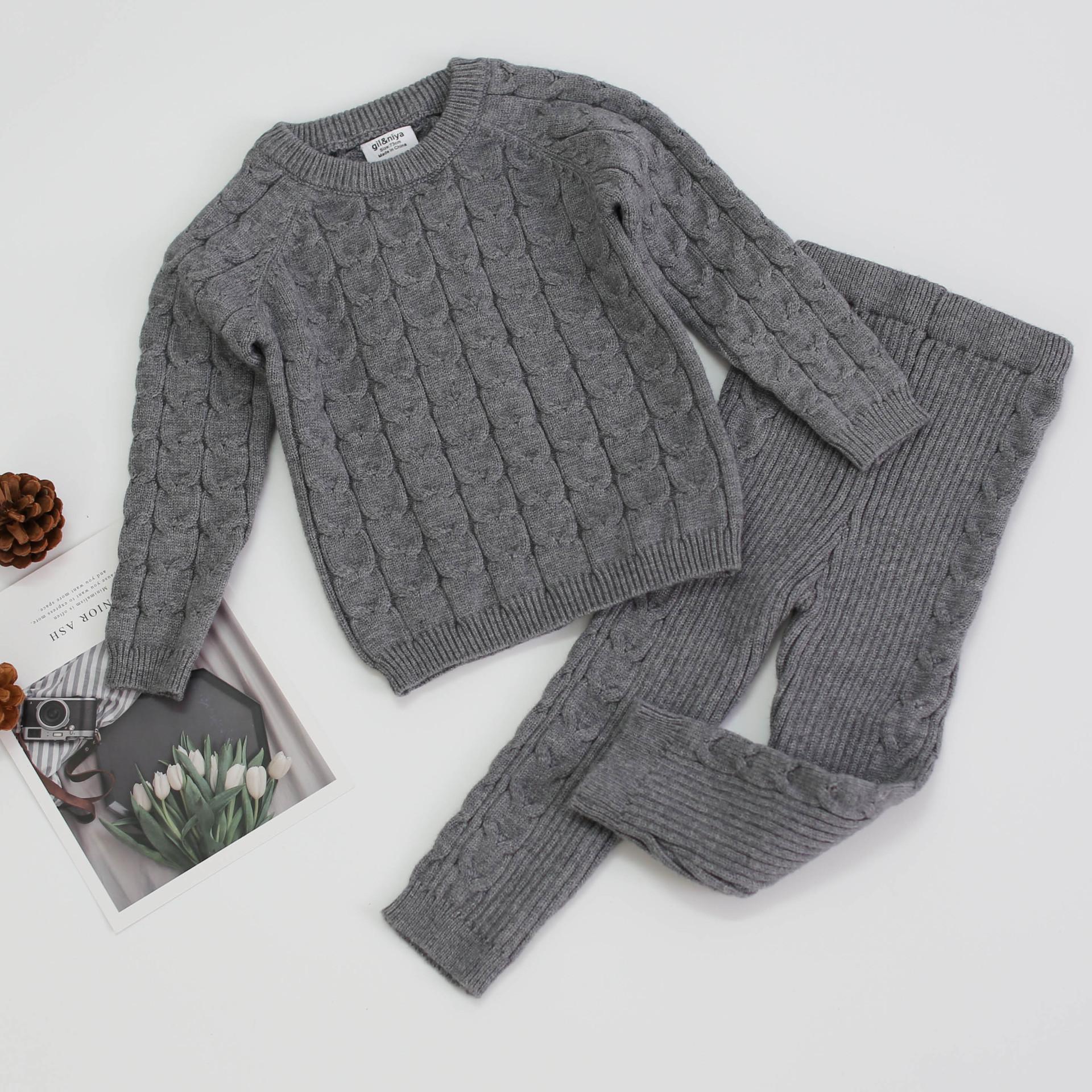Herbst- und Winterbaby Sets Baumwolle langärmelige Pullover + Hosen y1117