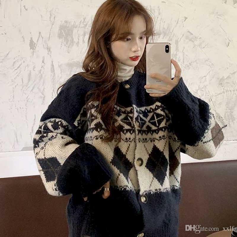 Herbst und Winter 2020 Neue Retro Jacquard Gestrickte Lose Große Größe Single-Breasted Cardigan Rundhals Langarm Sweater Wome