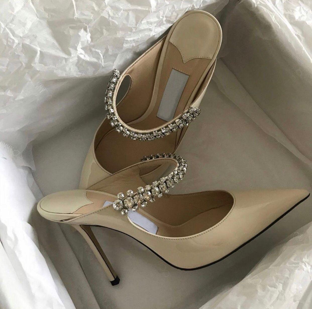 Zarif Tasarım Bing Baily Gelinlik Yüksek Topuklu Kadın Kristal Inci Kayış kadın Pompaları Noktası Toe Seksi Bayan Yürüyüş Ayakkabıları EU35-41