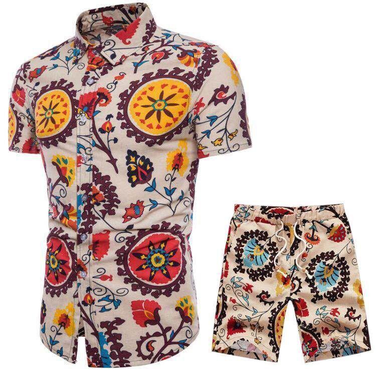 2021 New Summer Men's Casual Set Mens Roupas Floral Camisa Praia Imprimir Camisas Calções Calças Two Peece Terno Plus Size Ue2e