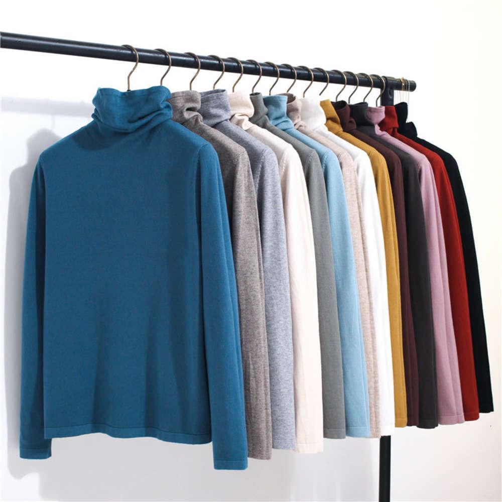 6T9861 # 40 Color Autumn / Winter 2020 New Solid High Collar T-shirt Pile Cuello Jersey Suéter para mujer