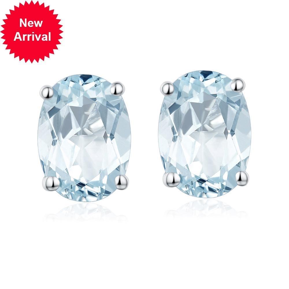 Pendientes de rayo de prisión de mujeres 1.34ct Hutang Aquamarine Solid 925 Sterling Blue Gemstone Fine Jewel Elegante para el presente Nueva York