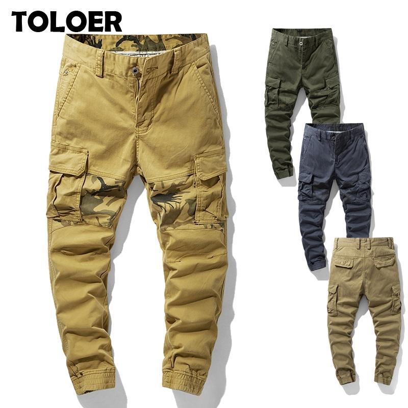 Мужские грузовые брюки комбинезон армейской одежды тактические брюки мужские моды военные работы много карманные мужчины прямые пробежки брюки 201109