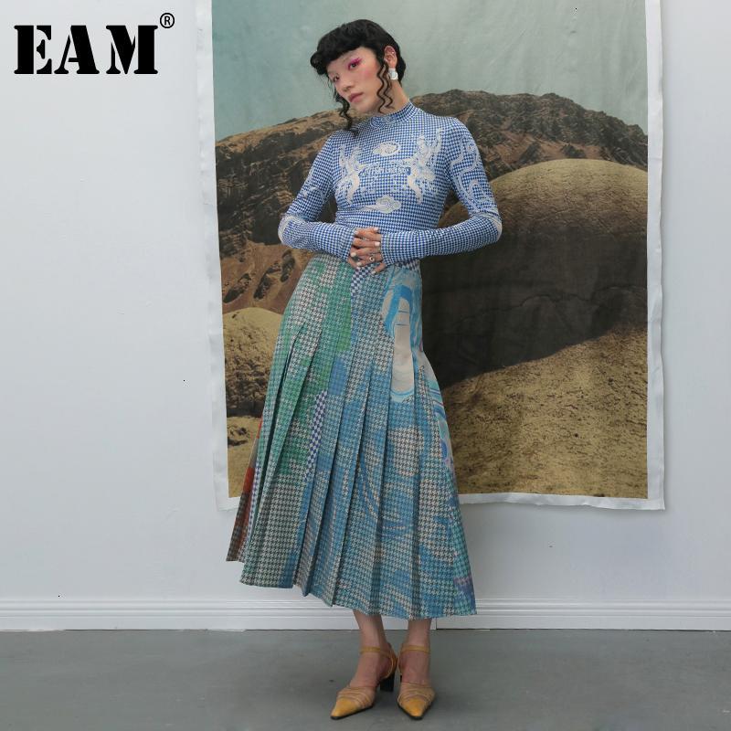[EAM] Yüksek Elastik Bel Pileli Ekose Baskı Kontrast Renk Yarım Vücut Etek Kadın Moda Gelgit Yeni Bahar Sonbahar 2020 1B741 Q1209