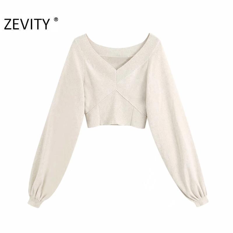 ZEVITY Kadın Moda V Boyun Patchwork Örgü Rahat İnce Kısa Kazak Kadın Fener Kol Kazak Kazak Chic Tops S360 Y200909