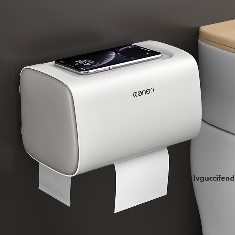 Bagno porta carta igienica scatola di carta multifunzione a parete multifunzionale scatola di immagazzinaggio tessuto toilette wc impermeabile doppio supporto porta accessori T200425