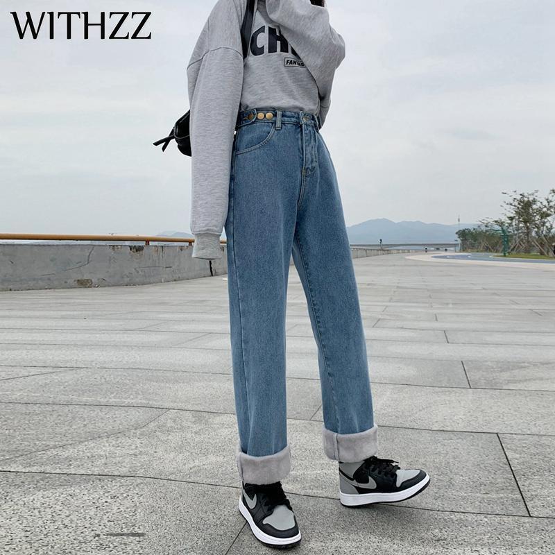 جينز المرأة الجينز الخريف الشتاء ارتفاع الخصر الدنيم السراويل مستقيم واسعة الساق السراويل الصوف حجم الآسيوية الدافئة