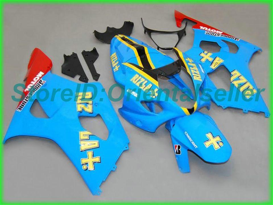 Spritzguss-Verkleidungskörper-Kit Himmelsblau schwarz AF40 für Suzuki GSXR1000 03 04 GSX-R1000 Bodywork GSXR 1000 K3 2003 2004 Verkleidungen Set + Gifts2