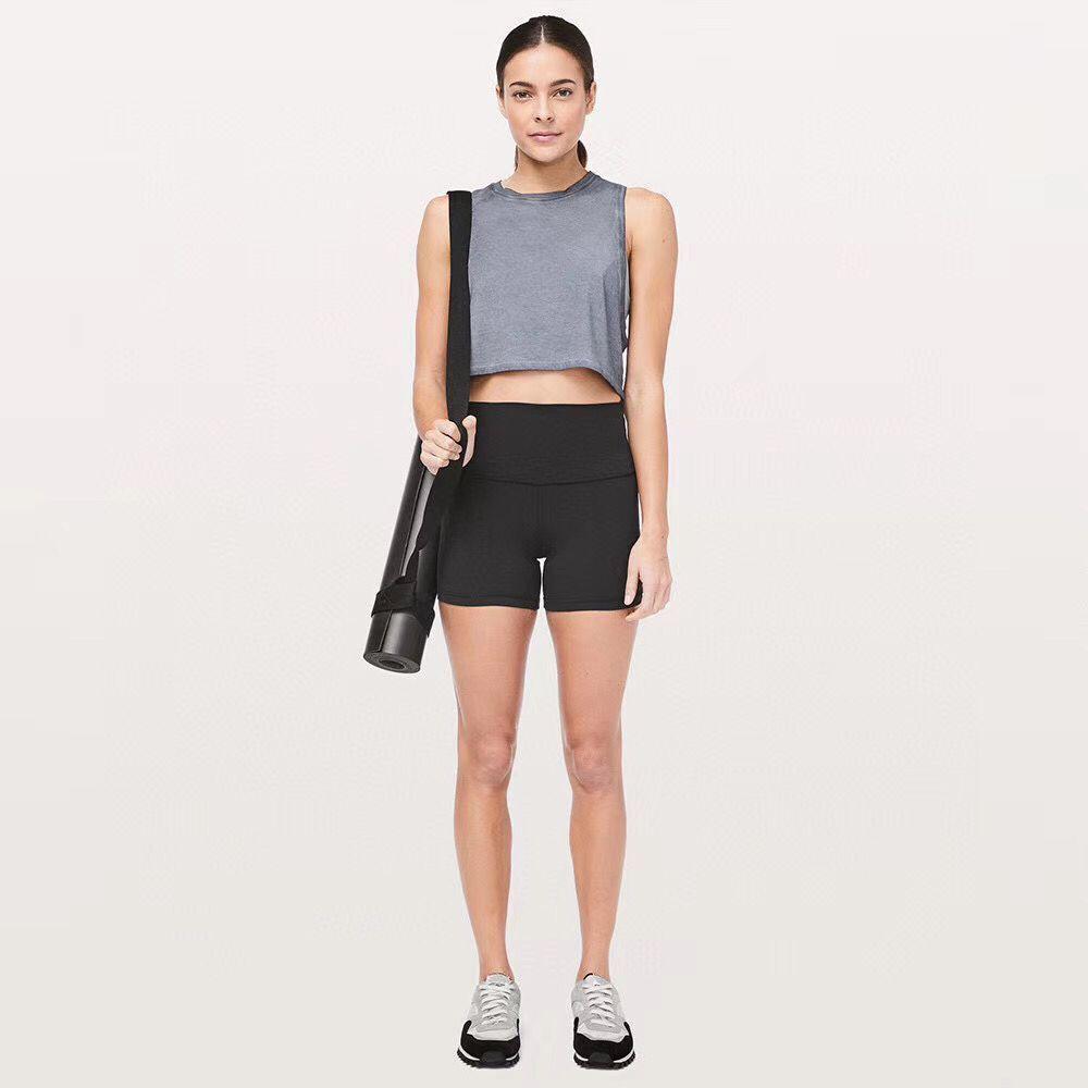 اليوغا محاذاة قصيرة جديدة من خلال ارتفاع الخصر النساء اليوغا السراويل الصلبة الرياضة رياضة ارتداء المؤخرات طماق مطاطا اللياقة سيدة اليوغا قصيرة