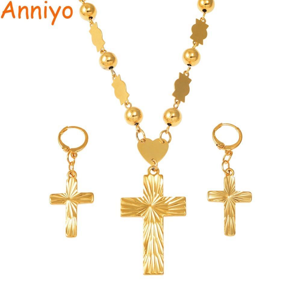 Anniyo Cross Pendant Earingings Balls Bead Catena Collane per le donne Micronesia Pohnpei Marshall Chuuk Set di gioielli # 159206 Z1201