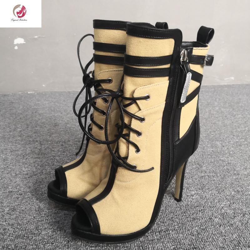Botlar Orijinal Niyet Şık Karışık Renk Ayak Bileği Kadın Dantel-Up Peep Toe Ince Topuklu Bayanlar Ayakkabı Elbise Parti Olgun