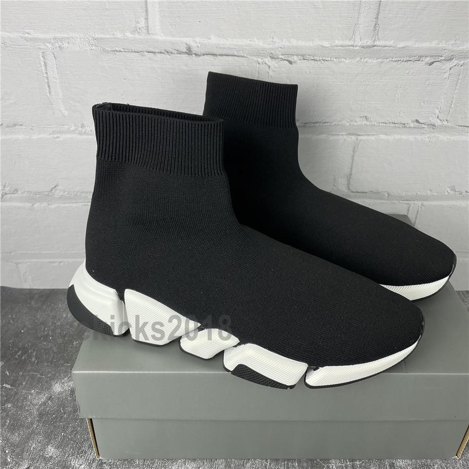 Hombres Mujeres Casual Zapatos Calcetines Calzado Calzado 2.0 Deportes Punto Zapatillas de Zapatillas de Zapatillas de Zapatillas de Velocidad Carrera Carrera Confort Zapatos negros Blanco Oreo con caja