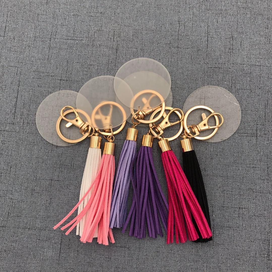 Chunky Multi Colors Disponibile Gold Monogrammed Cancella disco acrilico Long Tassel Keycocain5cm Disco vuoto con portachiavi in pelle scamosciata da 8 cm