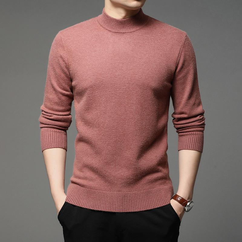 2021 Herbst und Winter Neue Männer Rollkragenpullover Pullover Mode Mode Massivfarbe Dicke und Warme Bottoming Hemd Männliche Marke Kleidung