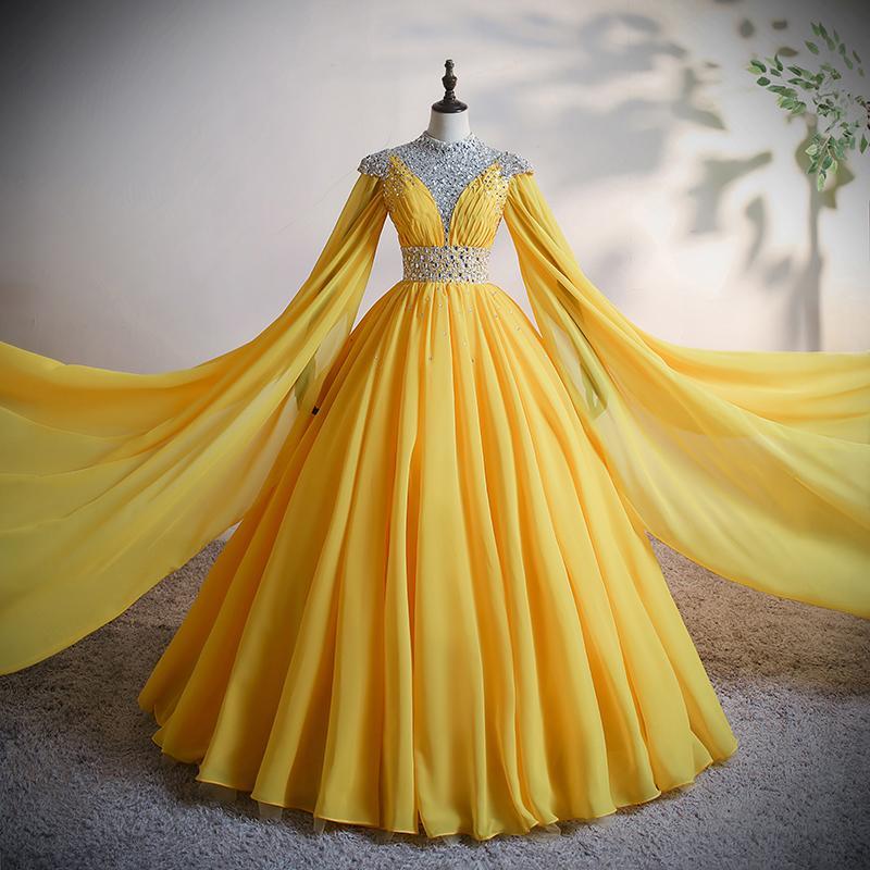 100% echte gelbe Perlen Chiffon Schulter Schleier Ball Gownlong Kleid Gericht Kleid Mittelalterliches Kleid Renaissance Kleid Prinzessin Royal Victoria Kleid