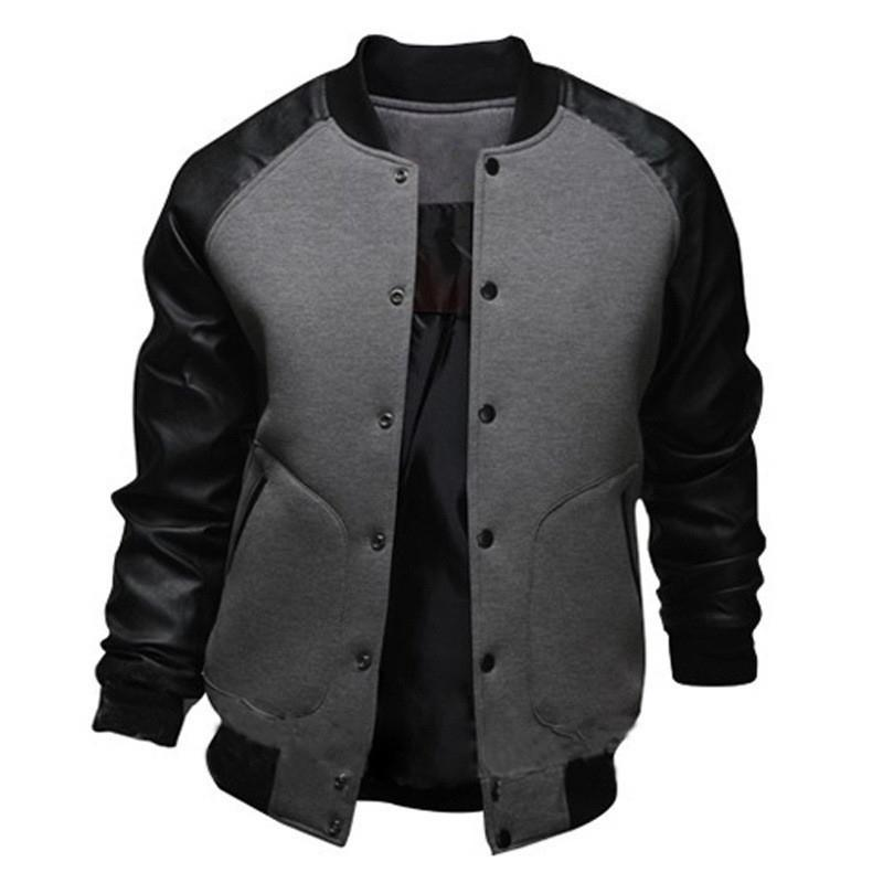 Serin Kolej Beyzbol Ceket Erkekler Moda Tasarım Siyah PU Deri Kollu Erkek Slim Fit Varsity Ceket Marka Veste Homme J04 T200502
