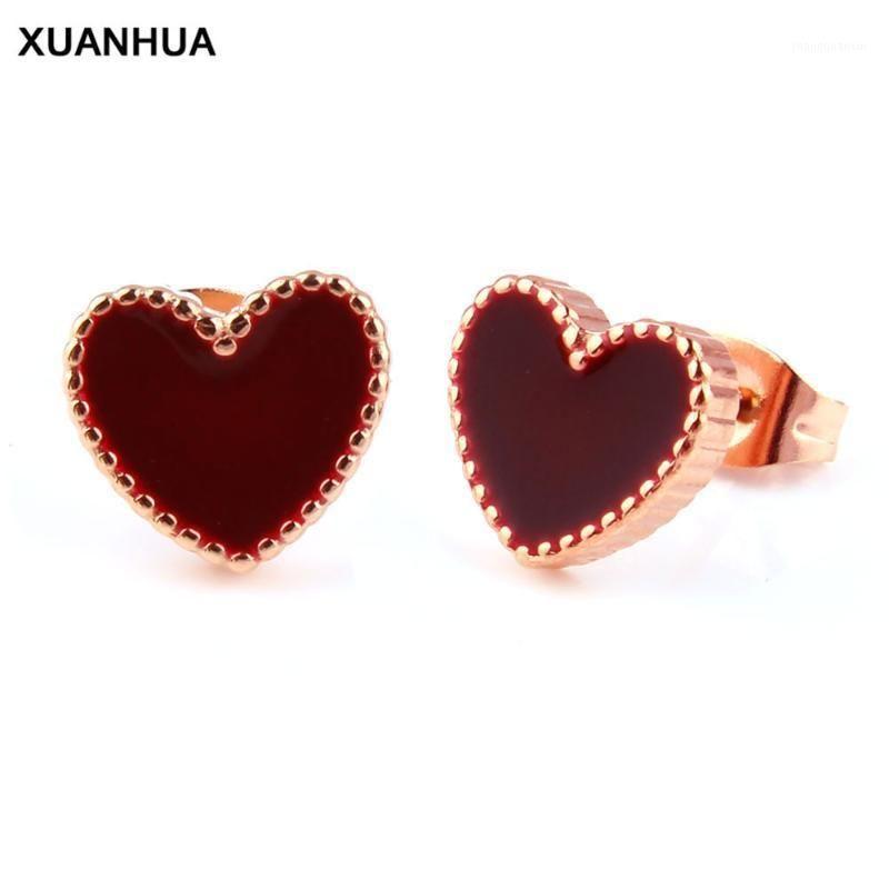 Xuanhua из нержавеющей стали из нержавеющей стали Золотое золото сердца серьги для женщин ювелирные изделия 2020 ювелирные изделия для ювелирных изделий оптом множество Bulk1