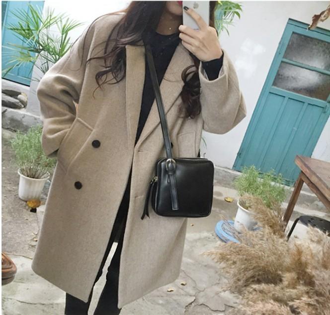 La versione coreana mostra il temperamento sottile, medio e lungo 2020 indossare il nuovo prodotto, cappotto femminile di lana, studente doppio petto