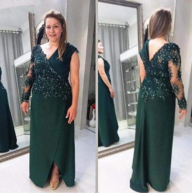 Koyu Yeşil Anne Gelin Elbiseler Artı Boyutu Uzun Kollu Boncuk Dantel Şifon Damat Annesi Örgün Abiye giyim Suits Suits