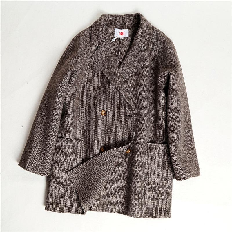 Tamanho Grande Mulher Fat Mm Cashmere Coat Adicionar Gordura Aumentar 200 Jin Slim Comprimento Médio Handmade Casaco de Pano Duplo
