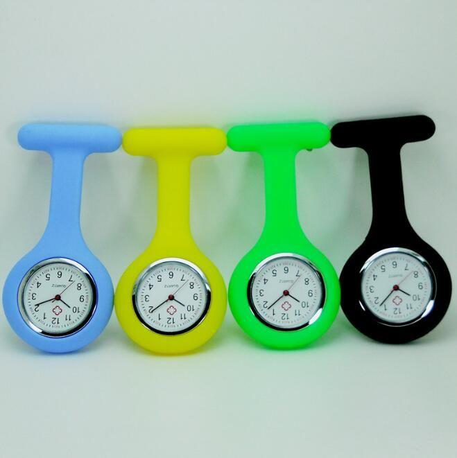 Silicona Nurse Watch Broche Tipo Clip Enfermera Jelly FOB Pocket Quartz Watch Enfermera Docotor Pocket Medical Watch