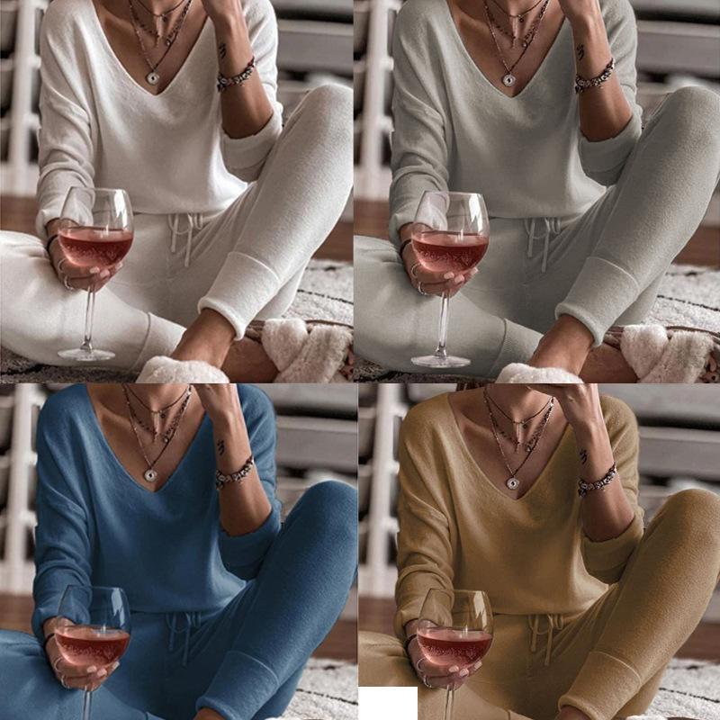 2020 Осенью и зима Новый 4-цветной тонкий натягивающий Pajamas домашний сервис двух целых повседневная удобная и теплая