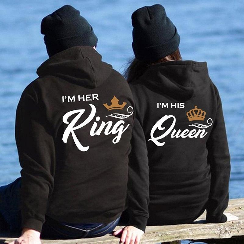 Her King His Queen Couple Hooded Print Sweatshirt Casual King Queen Letter Women Hoody Women's Clothing 201202