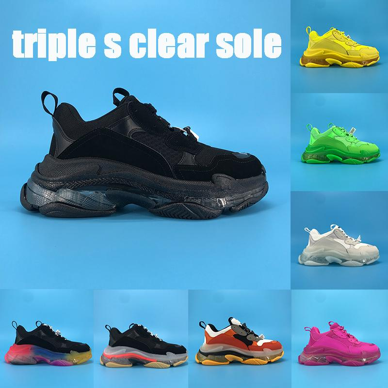 New Triple-S Cancella piattaforma Sole Sneakers Fluo Triple Black Black Brown Arcobaleno Sole Volt Lino Al Neon Green Uomo Donne Scarpe da corsa