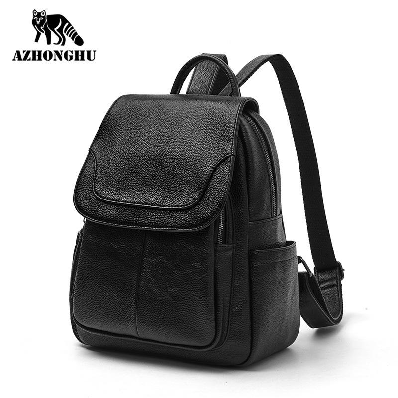 Leather Ladies New Trendy Women Fashion All-Match Backpack Leisure Travel Large Capacity Student School Bag Soft Mini Q1113