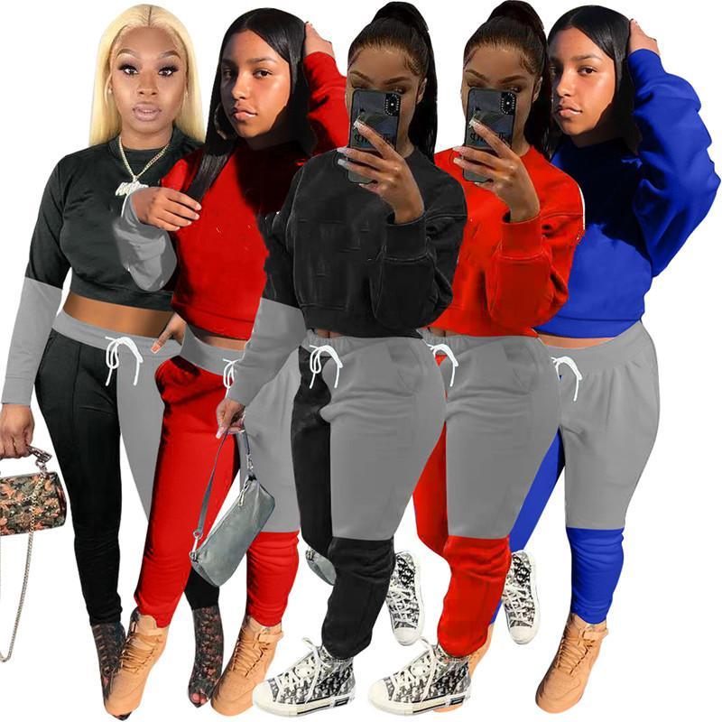 Женские спортивные наряды с длинным рукавом рубашка брюки двух частей набор узкие рубашки колготки спортивные костюмы пуловер брюки горячие продажи KLW5632