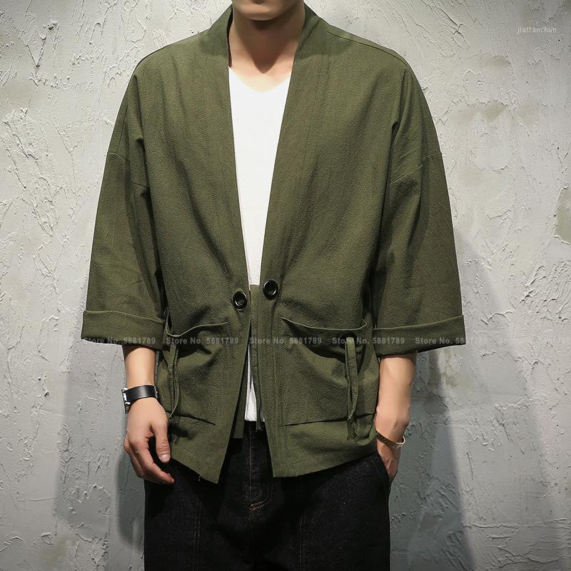 Hombres Camiseta de estilo chino Hanfu Tops Japonés Samurai Kimono Haori Sushi Robe Tang Traje Chaquetas Blusa Yukata Abrigo asiático1